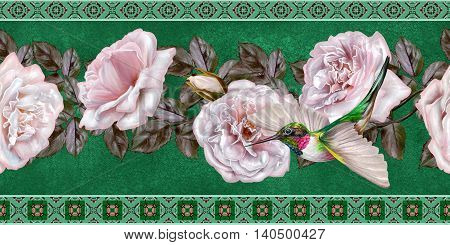 Pattern seamless. Old style. Fine weaving mosaic. Vintage background.Horizontal floral border.Garland of pale pink and pastel roses. Little bright bird hummingbird in flight.
