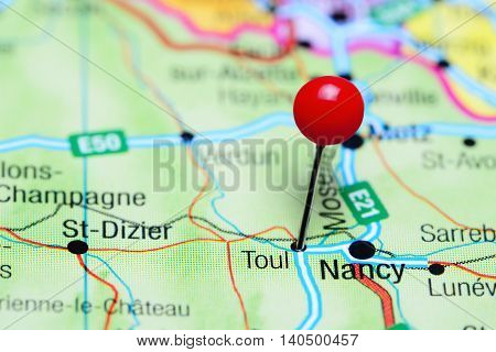Toul pinned on a map of France