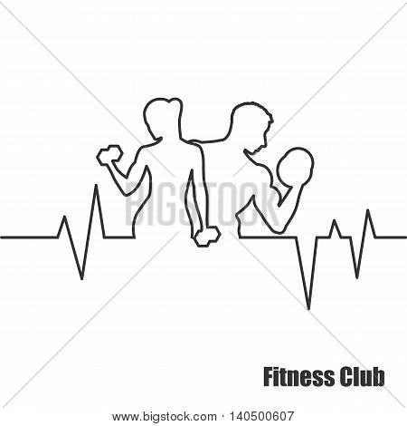 Fitness Center logo label icon - vector illustration