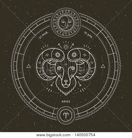 Vintage thin line Aries zodiac sign label. Retro vector astrological symbol, mystic, sacred geometry element, emblem, logo. Stroke outline illustration.