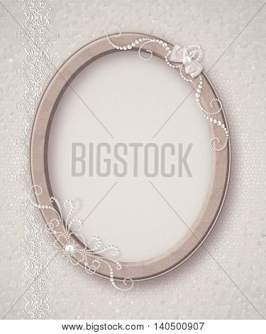 Oval photo frame. Flower composition. Openwork lace weaving of pearls.