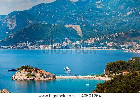 Sea and beach view in Montenegro. Island of Saint Stephen, Sveti Stefan view.