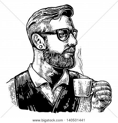 Hipster barista with the beard holding a cup of hot coffee. Hand drawn style. Vintage vector engraving illustration for label web poster. Isolated on white background.