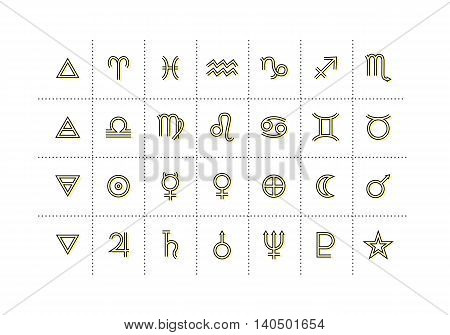 Astrology symbols and mystic signs. Set of astrological graphic design elements. Vector icons collection.