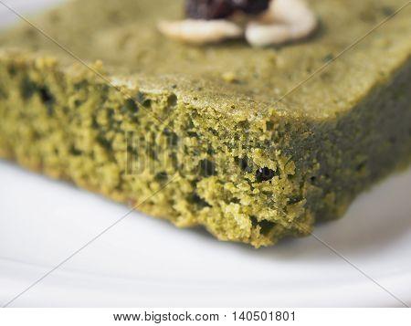 Macro image and selective focus / Matcha green tea brownie cake