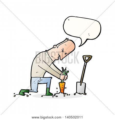 cartoon gardener with speech bubble