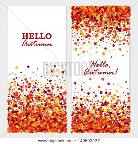 Hello Autumn banners with falling maple leaves.
