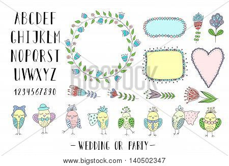 Elements for creating greeting cards, invitations for wedding or party with frames, flowers, font and birds. Colorful.