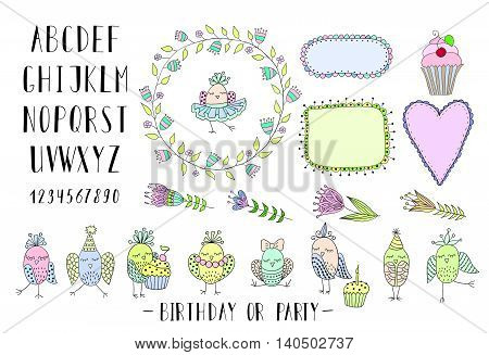 Elements for creating greeting cards, invitations for birthday or party with frames, flowers, font and birds. Colorful.