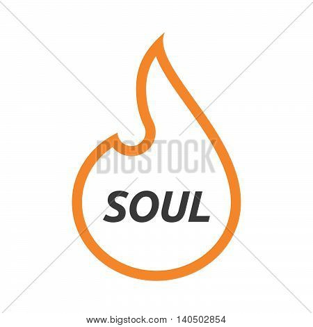 Isolated  Line Art Flame With    The Text Soul