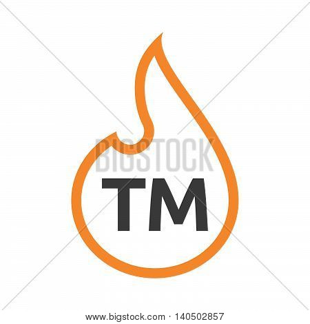 Isolated  Line Art Flame With    The Text Tm