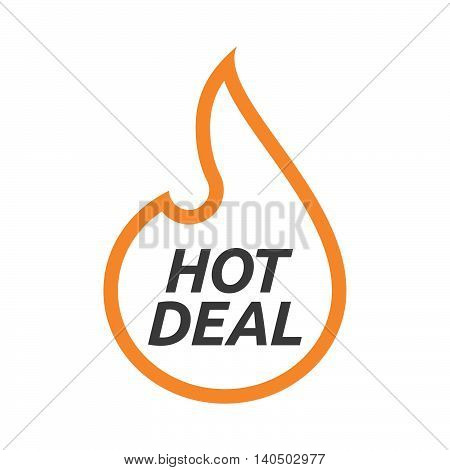 Isolated  Line Art Flame With    The Text Hot Deal
