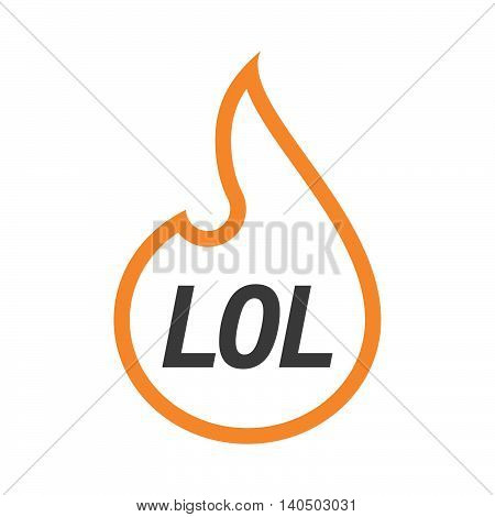 Isolated  Line Art Flame With    The Text Lol