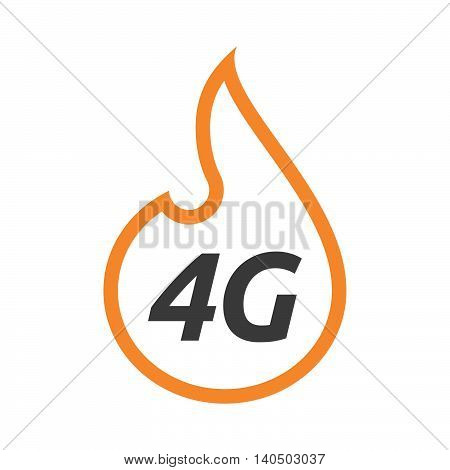 Isolated  Line Art Flame With    The Text 4G
