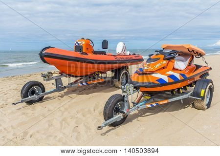 Kijkduin the Netherlands - July 13 2016: beach rescue boats on their trailers