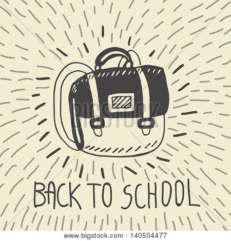 Back to school hand drawn doodle card with schoolbag. The schoolbag on beige background