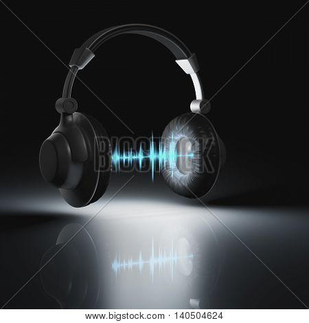 3D illustration. Headset with graphic equalizer between speakers. Clipping path included.