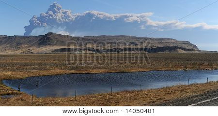 iceland volcano and pond/lake