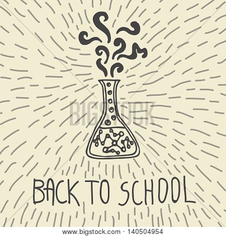 Back to school hand drawn doodle card with chemical flask. The chemical flask on beige background