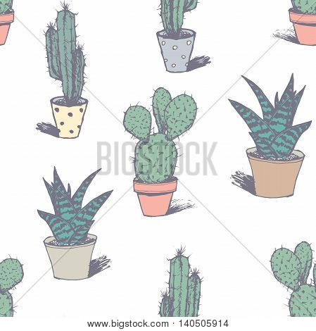 Hand drawn succulent ornament. Ink illustration.Seamless pattern with cactus.. Vector illustration of a cactus isolated on a white background.