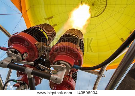 Burners heating up the air in hot air balloon