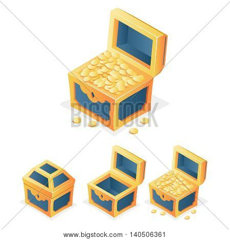 RPG Game Icon Treasure Chest Coins Closed Open Empty Isolated Template Vector Illustration
