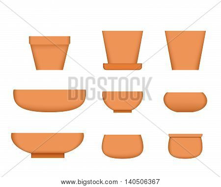 Bonsai tree pot in realistic style Clay plant pot vector