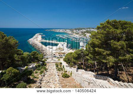 View of marina in Santa Maria di Leuca - southernmost town in Italy region Puglia
