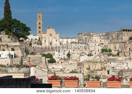 Matera Cathedral Sassi di Matera - old stony town in Basilicata region southern Italy