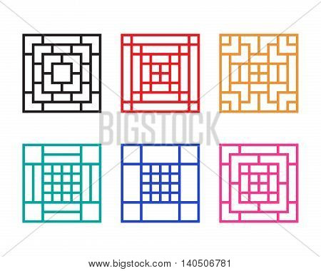Square Chinese window with pattern vector design