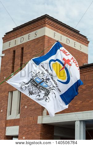 CRACOW POLAND - JULY 26 2016: Flags of World Youth Day 2016 in the Centre of Pope John Paul II in Lagiewniki. Cracow. Poland