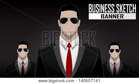 Business face off team standing over dark background. Vector illustration
