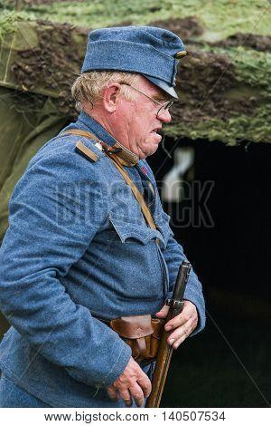 Snina Slovakia - May 28 2016: Military historical reconstruction battles of World War I Karpaty 1914/1916. Participant of event expects to begin reconstruction near Snina Slovakia.