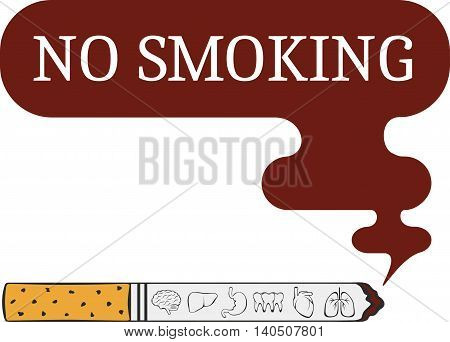label o smoking sticker. No smoking icon. No smoking sign. No smoking and smoking area signs with cigarettes