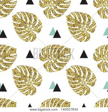 Tropical golden palm leaves seamless background, gold palm leaves
