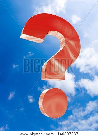The big red question soars in the sky. 3d illustration