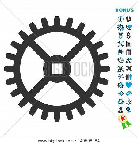 Clock Gear icon with bonus pictograms. Vector style is bicolor flat iconic symbol with rounded angles, blue and gray colors, white background.