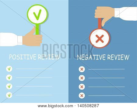 Results of the review typography banner, hands with a cross and a tick, vector illustration
