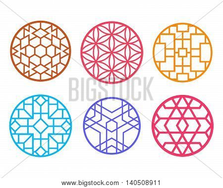 Geometric round Chinese pattern window frame vector