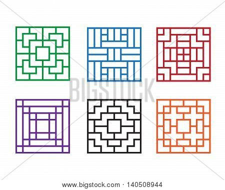 Modern Chinese pattern window in square concept vector