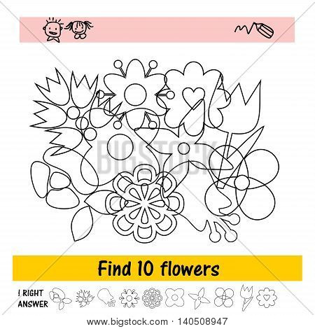 Children s assignment to find ten flowers. Preschool education