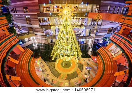 FUKUOKA, JAPAN - DECEMBER 6, 2012: Canal City interior during the holiday season. It is the largest private development in the history of Japan at a size of 2.5-million sq. ft.