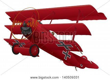 Vintage World War I Fokker DR1 red baron style triplane illustration.