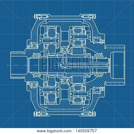Technical blueprint illustration on blue background