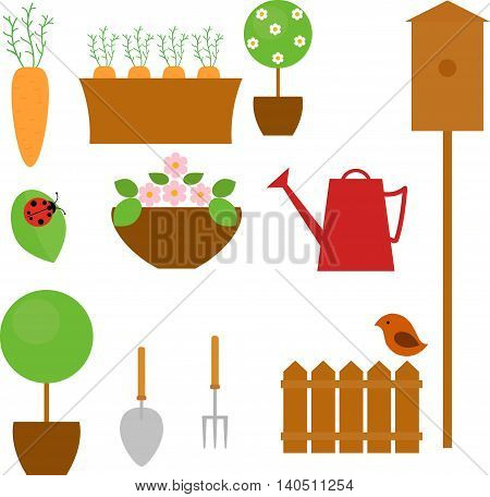 Gardening icon set with carrot, tree, flower and shovel isolated on white