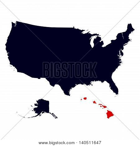 Hawaii State in the United States map vector