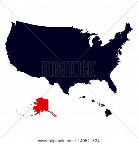Alaska State in the United States map vector