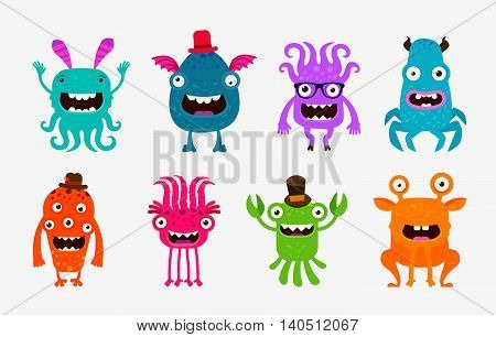 Cute cartoon monsters. Alien, ghost set of icons. Vector illustration