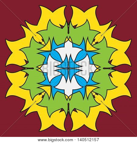 colored ornamental symmetrical mandala in the shape of a dragon - flower on a burgundy background