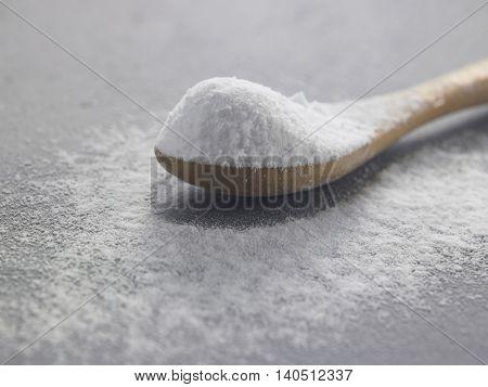 baking soda on the black background